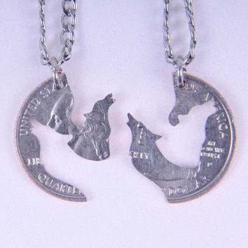 Sale - wolfs coin necklace set, interlocking necklace, coin jewelry,couple love necklace,relationship necklace, boyfriend gift, wedding gift