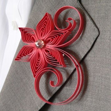 Red Coral Boutonniere, Coral Reef Buttonhole, Red Coral Wedding Boutonniere, Coral Reef Wedding