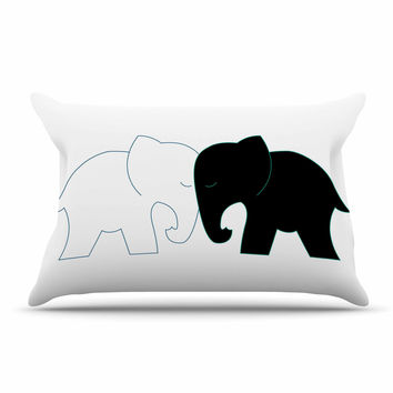 "NL Designs ""Black And White Elephant Love"" Black White Pillow Sham"