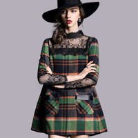 Plaid and Lace Dress with Leather Details