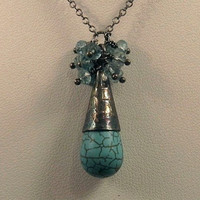 Oxidized Cluster Necklace Turquoise Aquamarine by AListDesigns