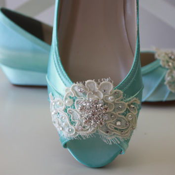 Handmade Lace Wedge Wedding Shoe -Choose From Over 100 Colors - Tiffany Blue Wedding Shoes  - Lace Wedding Wedge Bridal Shoe By Parisxox