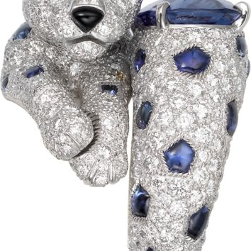 Panthère de Cartier High Jewelry ring: Ring - 950‰ platinum, one cushion-shaped sapphire, 356 brilliant-cut diamonds totaling 3.45 carats
