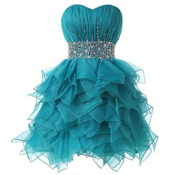 Turquoise Short Beaded Prom Dress Knee Length Cocktail Party Dress Elegant Ball Gown Girls Strapless Crystal Prom Dresses 6177