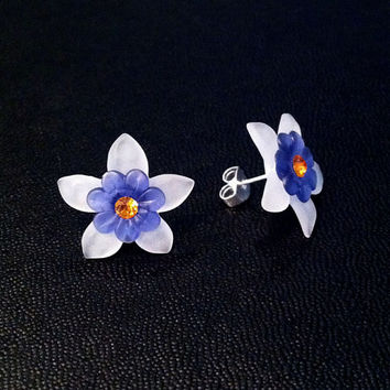White and Blue Star Flower Earring with Swarovski Topaz Crystals