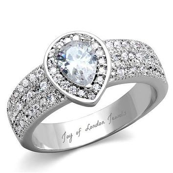 1.2CT Pear Cut Halo Lab Diamond Engagement Ring