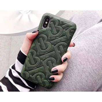Free shipping-Burberry personality versatile iPhone8xsmax phone case #6