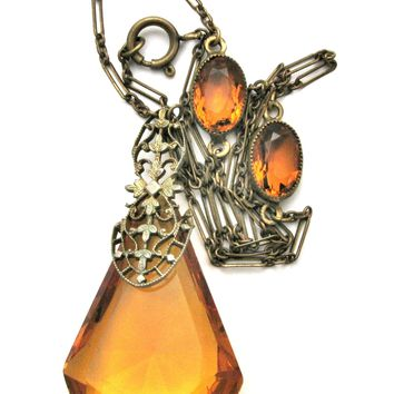 Art Deco Amber Glass Lavalier Rhinestone Necklace