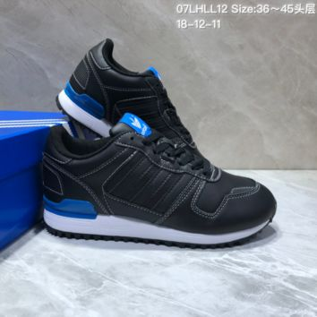 KUYOU A400 Adidas Originals ZX700 Leather Sports Running Shoes Black Blue