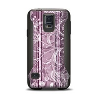 The Purple and Gray Stripes with Overlapping Floral Samsung Galaxy S5 Otterbox Commuter Case Skin Set