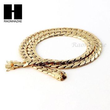 ONETOW 14k Gold Finish Heavy 9mm Miami Cuban Link Chain Necklace Bracelet Various SetF