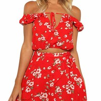 Red Floral Cropped Matching Set