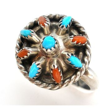 Needlepoint Turquoise & Coral Ring JHK