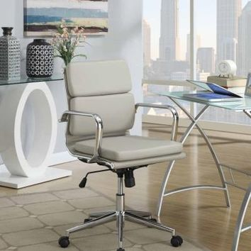 Taupe faux leather upholstered with chrome metal frame and casters office chair