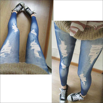Fashion False Hole Ninth Pant Imitation Jeans Leggings Pencil Pants Blue