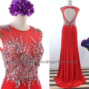 Unique Red Jersey Prom Dresses, Open Back Red Crystal Prom Gown, Long Formal Dresses, Red Jersey Wedding party Dresses