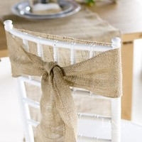 """5Pcs Naturally Elegant Burlap Chair Sashes Jute Chair Tie Bow for Rustic Wedding Decoration  7""""*108"""""""