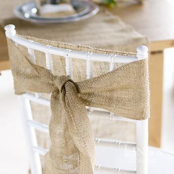 "5Pcs Naturally Elegant Burlap Chair Sashes Jute Chair Tie Bow for Rustic Wedding Decoration  7""*108"""