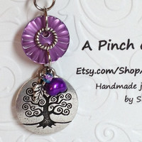 Purple Tree of Life Pearl and Button Necklace