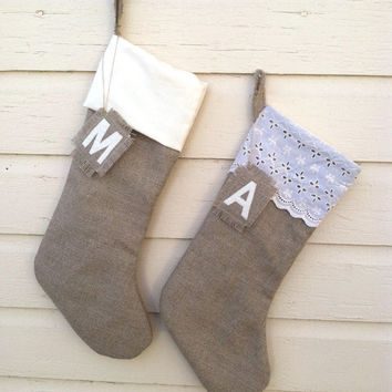 Set of 2 - Ivory Lace Stocking - Christmas Stocking - Linen Burlap Stocking - Personalized Stocking