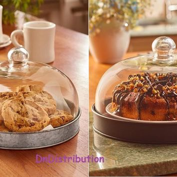 Glass Domed Serving Plate Cloche Multi-functional Tray Server Farmhouse Style