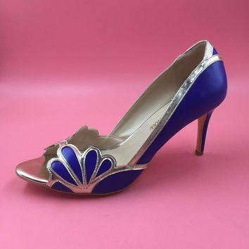 Rotal Blue Women Shoes Peep Toe Wedding Pumps With Gold Shell Edges High Heels Stilett