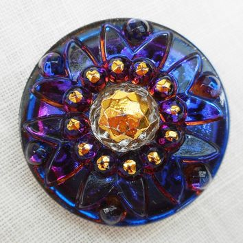 One 22mm Czech glass button, deep dark blue and gold decorative crown shank buttons with bright pink highlights C69101