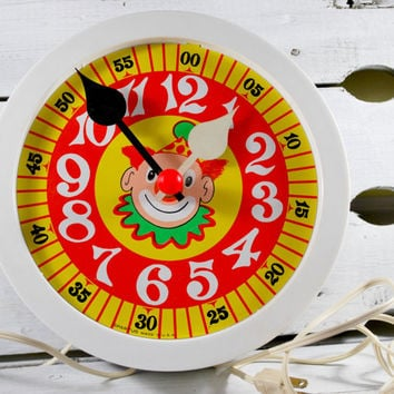 Learning Clock with a Clown , Big Numbers and Minutes , Learning Toy