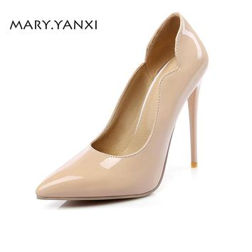 Spring/Autumn Women Shoes Pumps Thin Super High Heels Pointed Toe Casual Fashion Sexy Rome Shallow Solid Patent Leather Slip-on