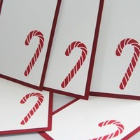 Red and White Candy Cane Christmas Gift Tags set of Five