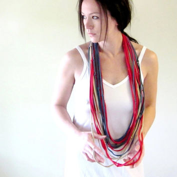 KNOTS cotton jersey scarf necklace in slate blue red & by EcoShag