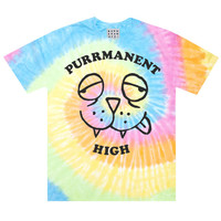 Purrmanent High Kitty Cat Tie Dye T-Shirt, Stoned Kitten Strung Out 420 Rainbow Swirl 90's Grunge Tee Shirt by Burger And Friends