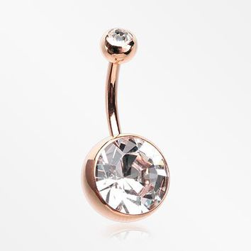 Rose Gold Giant Sparkle Gem Ball Belly Button Ring