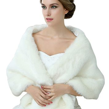 In Stock Wedding Accessory Faux Fur Black White Custom Made Bridal Coat Wedding Bolero Stoles Jacket Shrug Wraps 17013