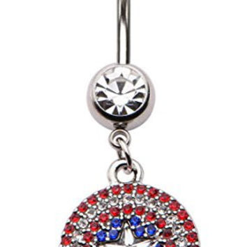 Marvel Captain America Rhinestone Logo Navel Piercing Belly Button Ring 14G