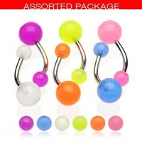 Body Accentz™ Glow in Dark Belly Rings Set of 6 Navel Rings Body Jewelry Piercing Bar Ring Rings 14g (put under light to recharge)
