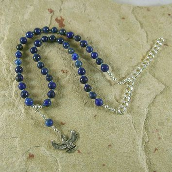 Isis Necklace in Lapis Lazuli (Adjustable): Egyptian Goddess of Magic, Wisdom
