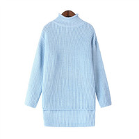 Blue High-Neck Long-Sleeve Knitted Sweater