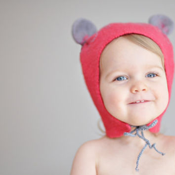 Ready to ship - Baby girl felted wool hat - Happy Ears - Red and Gray / Eco wool / Handmade Mouse Ears Hat / Baby girl / Spring trend