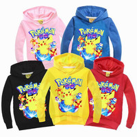 POKEMON GO shirts 2-9years old Autumn children boys girls outerwear clothing cotton kids baby boy sweatshirt long sleeve clothes
