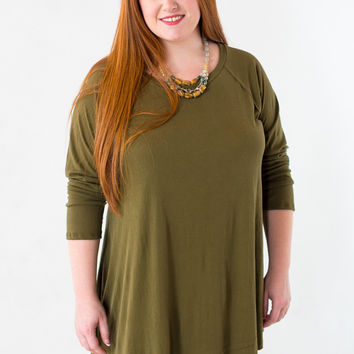 Side to Side Asymmetric Plus Size Top in Green
