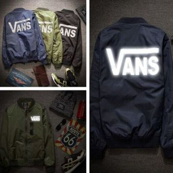 ICIK272 VANS: the spring and Autumn Period jacket men and women 3M reflective Baseball Jacket