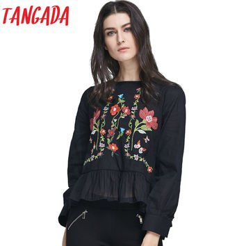 Tangada Fashion  Blouse For Women Shirt Black White Floral Embroidery Ruffles Long Sleeve Casual Brand Tops Blusas