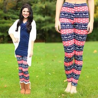 All I Want For Christmas Patterned Leggings in Coral