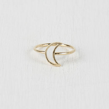 Cutout Crescent Moon Ring