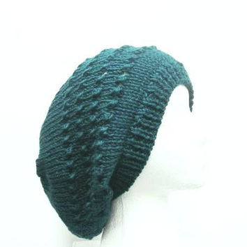 Knitted slouch hat  teal  5244