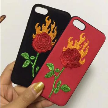 Fashion flame roses embroider silica gel phone case iPhone 6 s mobile phone shell iPhone 7 plus shell
