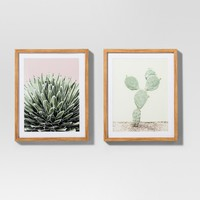 "Framed Cactus Wall Print 2pk White/Green 20""x16"" - Project 62™"