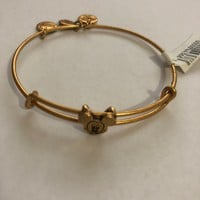 Disney Parks Mickey Slider Bracelet Bangle Alex & Ani Gold Finish New With Tags