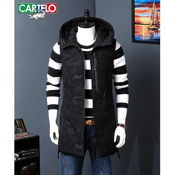 CARTELO High Quality Men white duck down Long Vest Hooded Slim Fit Sleeveless camouflage Coat Male Casual Waistcoat Jacket